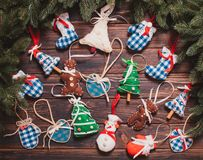 Christmas vintage decor. Blue gingham toys on the wooden table Royalty Free Stock Photography