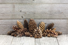 Christmas vintage decoration with pine cones Royalty Free Stock Photos