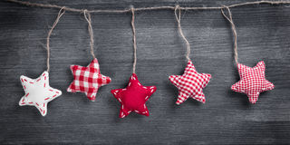 Christmas vintage decorations hanging on string Stock Photography