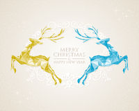 Christmas vintage deer greeting card Stock Photo