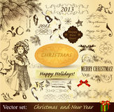 Christmas vintage design elements Stock Photos