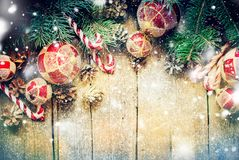 Christmas Vintage Fir Toys Red Balls Candy Cane Royalty Free Stock Images