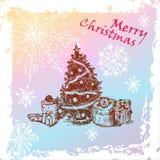 Christmas vintage fir tree Stock Images