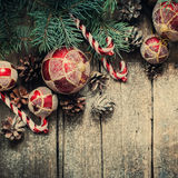 Christmas Vintage Fir Tree Toys, Red Balls, Coniferous, Candy Cane, Pine Cones Royalty Free Stock Images
