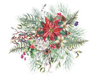 Christmas Vintage Floral Greeting Card. New Year Decoration with Poinsettia, Fern Leaves, Pine Branches, Nuts, Fir Cones. Botanical Natural Watercolor Stock Photo