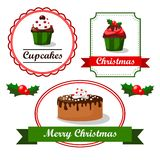 Christmas vintage food tags and labels with cupcak Stock Photography