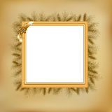 Christmas Vintage Framework. Vector. Framework For Photo With Holly Berry And Fur-tree Branches, Vector Illustration Stock Photo