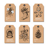 Christmas vintage gift tags set. Vector hand drawn illustration. Royalty Free Stock Photo