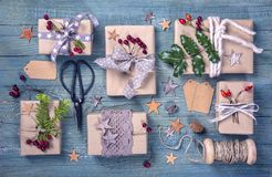 Christmas vintage gifts royalty free stock photo