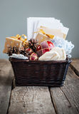 Christmas Vintage Gifts in a Basket. Country style Stock Photography
