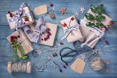 Christmas vintage gifts. On a wooden background royalty free stock photos
