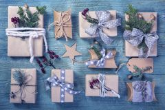 Christmas vintage gifts. On a wooden background royalty free stock photo