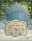 Christmas vintage greeting card. On winter landscape Royalty Free Stock Photos