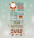 Christmas vintage greeting card. Vector illustration Stock Photo