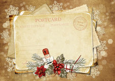 Christmas vintage greeting card with Nutcracker Stock Photo