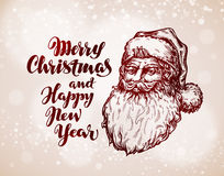 Christmas vintage greeting card. Santa Claus vector illustration stock illustration