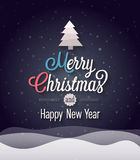 Christmas vintage greeting card. Vector illustration Stock Images