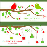 Christmas vintage greeting card. Vector illustration with cute birds couple on the holly berry tree branch in retro colors stock illustration