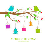 Christmas vintage greeting card. Vector illustration with cute birds couple on the holly berry tree branch in retro colors vector illustration