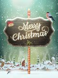Christmas vintage greeting card on winter village Royalty Free Stock Images