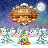 Christmas vintage greeting card on winter village. Christmas and happy new year vintage greeting card on winter village. Christmas signboard and Winter landscape Royalty Free Stock Image