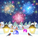 Christmas vintage greeting card on winter village. Merry Christmas and happy new year vintage greeting card on winter village. fireworks in the sky. Vector Stock Photo