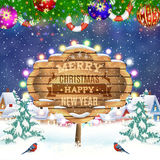Christmas vintage greeting card on winter village. Merry Christmas and happy new year vintage greeting card on winter village. Christmas signboard and Winter Royalty Free Stock Photography