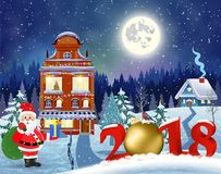 Christmas vintage greeting card on winter village. Meryy Christmas and happy new year greeting card on winter village. Santa Claus with deers in sky above the Royalty Free Stock Images