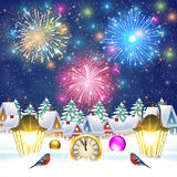 Christmas vintage greeting card on winter village. Meryy Christmas and happy new year vintage greeting card on winter village. fireworks in the sky. Vector Stock Photos