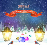 Christmas vintage greeting card on winter village. Meryy Christmas and happy new year vintage greeting card on winter landscape. Christmas ball. Vector Royalty Free Stock Photos
