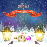 Christmas vintage greeting card on winter village. Meryy Christmas and happy new year vintage greeting card on winter landscape. Christmas ball. Vector Royalty Free Stock Images