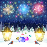 Christmas vintage greeting card on winter village. Meryy Christmas and happy new year vintage greeting card on winter landscape. fireworks in the sky. Christmas Royalty Free Stock Image