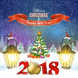 Christmas vintage greeting card on winter village. Meryy Christmas and happy new year vintage greeting card on winter landscape. Christmas tree with 2018 and Royalty Free Stock Photo