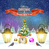 Christmas vintage greeting card on winter village. Meryy Christmas and happy new year vintage greeting card on winter landscape. Christmas tree and ball. Vector Royalty Free Stock Photos
