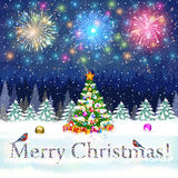 Christmas vintage greeting card on winter village. Meryy Christmas and happy new year vintage greeting card on winter landscape with christmas tree. fireworks in Royalty Free Stock Photo