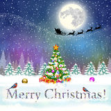 Christmas vintage greeting card on winter village. Meryy Christmas and happy new year vintage greeting card on winter landscape with christmas tree. Santa Claus Stock Photos