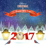 Christmas vintage greeting card on winter village. Meryy Christmas and happy new year vintage greeting card on winter landscape. Vector illustration. concept for Stock Images