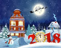 Christmas vintage greeting card on winter village. Meryy Christmas and happy new year greeting card on winter village. Santa Claus with deers in sky above the Royalty Free Stock Photos