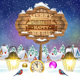 Christmas vintage greeting card on winter village. Meryy Christmas and happy new year vintage greeting card on winter village. Christmas signboard and Winter Stock Images