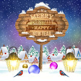 Christmas vintage greeting card on winter village. Meryy Christmas and happy new year vintage greeting card on winter village. Christmas signboard and Winter Royalty Free Stock Image