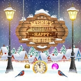 Christmas vintage greeting card on winter village. Meryy Christmas and happy new year vintage greeting card on winter village. Christmas signboard and Winter Royalty Free Stock Images