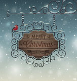 Christmas vintage greeting card - wooden signboard. Vector illustrator stock illustration