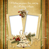 Christmas vintage greeting frame with the wishes stock illustration