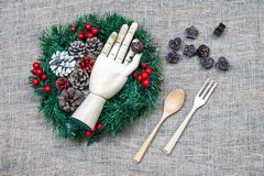 Christmas vintage hessian background. With Christmas wreath and chocolate royalty free stock photo