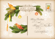 Christmas Vintage Holiday Vector Postcard. Merry Christmas and Happy New Year celebration vintage postcard with baubles, birds, Xmas decorations, fir tree Stock Photo