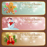 Christmas vintage horizontal banners. Vector illustration Royalty Free Stock Image