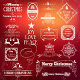 Christmas vintage label set. Decorative elements for greeting cards, print poster and web design. EPS10 vector file organized in layers for easy editing Royalty Free Stock Photography