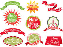 Christmas vintage labels and card vector illustration