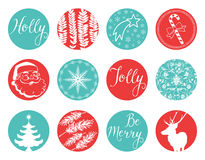 Christmas Vintage Labels. Vintage styled Xmas elements. Including classic Holiday elements and icons. They read Holly Jolly and Be Merry Royalty Free Stock Image
