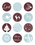 Christmas Vintage Labels. Vintage styled Xmas elements. Including classic Holiday elements and icons. They read Love, Joy and Warm Wishes Royalty Free Stock Images